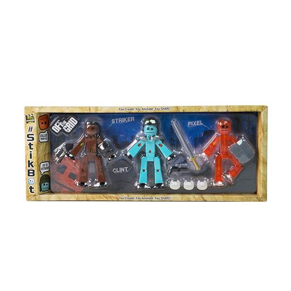 Игрушка 3 фигурки Stikbot Off the Grid, Striker - фото 10262