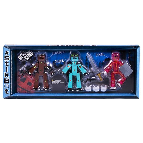 Игрушка 3 фигурки Stikbot Off the Grid, Striker - фото 10263