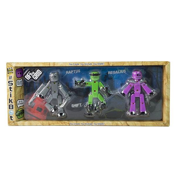 Игрушка 3 фигурки Stikbot Off the Grid, Raptus - фото 10265