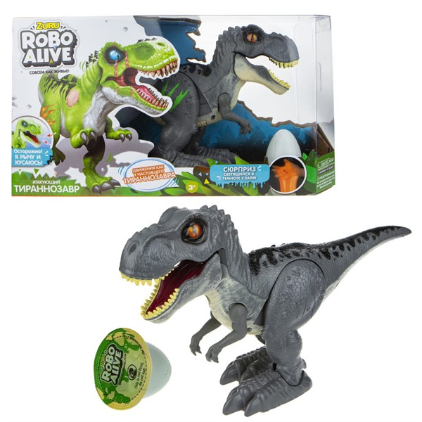 ZURU Игровой набор Робо-Тираннозавр RoboAlive (серый )+слайм 2* ААА бат (не входят) 38*9*20, коробка с окном - фото 11884