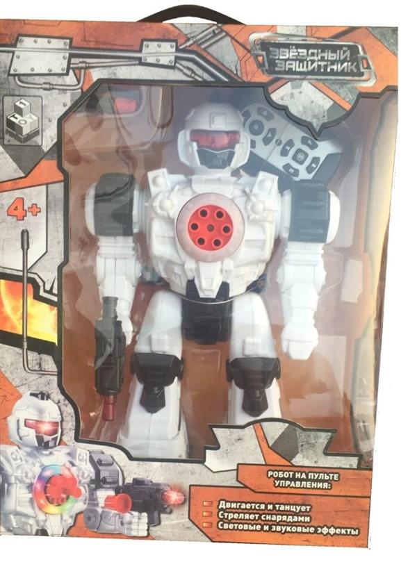 1toy Звездный защитник робот на д/у, стреляет липучками, движ. во всех направ., свет, звук.эфф. 2 цвета в ассорт, 26см - фото 12320