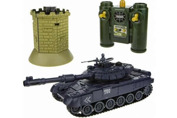 1toy Взвод танковый бой на р/у (танк + башня), 2,4 ГГц, 1:28 (35 см), движение во все стороны, вращение башни, свет и звук, индикатор попаданий, башня - фото 12322
