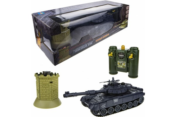 1toy Взвод танковый бой на р/у (танк + башня), 2,4 ГГц, 1:28 (35 см), движение во все стороны, вращение башни, свет и звук, индикатор попаданий, башня - фото 12323