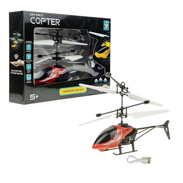 1toy Gyro-Copter, вертолёт на сенсорном управлении, со светом, коробка - фото 12370