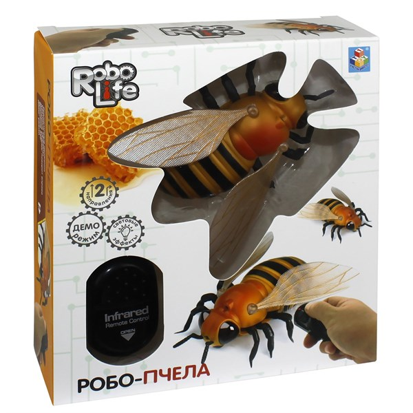 1TOY, Робо-пчела на ИК управлении,свет эффекты,  16,5*5,3*18,6 - фото 12379