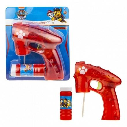 1toy Щенячий патруль, мыл. пистолет (прозрачный), световые эффекты , бут. 60 мл, блистер - фото 12387