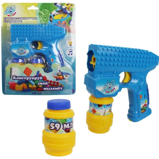 1toy Мы-шарики! пистолет на батар. совместимый с блочными конструкторами , с мыл. пузыр.,свет, звук, бут. 2 *59 мл, блистер, - фото 12389