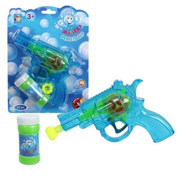 1toy Мы-шарики! пистолет механич. с мыл. пузыр. револьвер со светом, , бут.50 мл, цвет в ассорт., блистер - фото 12396
