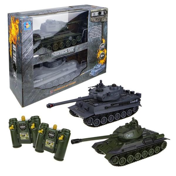 1toy Взвод танковый бой на р/у (2 танка), 2,4 ГГц, 1:28 (35 см), движение во все стороны, вращение башни, свет и звук, индикатор попаданий - фото 12401
