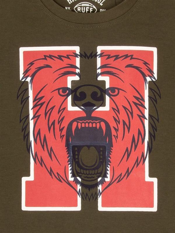 RUFF Лонгслив хаки с красной буквой H - фото 5445