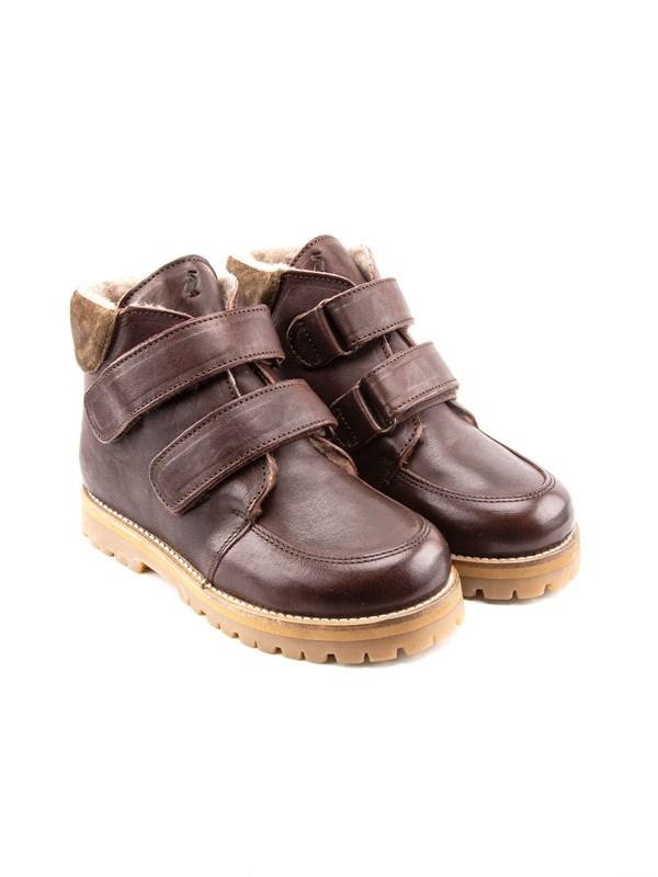 Petit Nord Зимние детские ботинки на липучке, коричневый - фото 5487