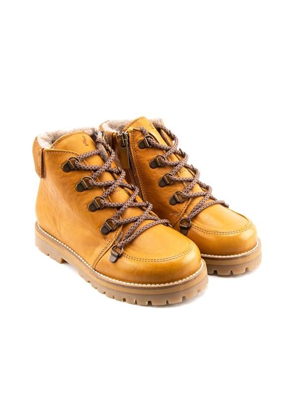 Petit Nord Зимние детские ботинки на шнурках, горчичный - фото 5499