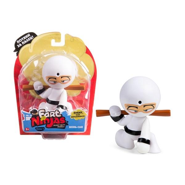 """Фарт Ниндзя.Игрушка """"Пукающий"""" Ниндзя белый с шестом.TM Fart Ninjas - фото 8301"""