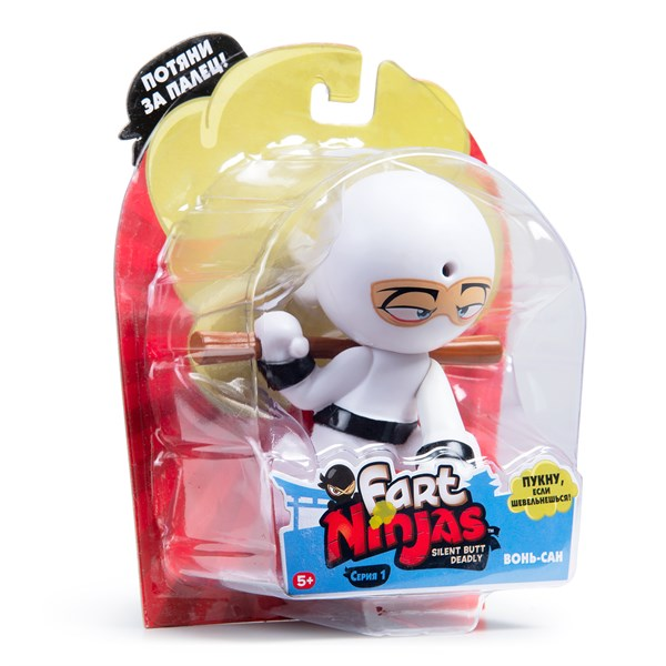 """Фарт Ниндзя.Игрушка """"Пукающий"""" Ниндзя белый с шестом.TM Fart Ninjas - фото 8305"""
