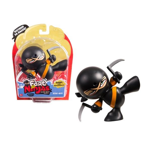 """Фарт Ниндзя.Игрушка """"Пукающий"""" Ниндзя черн. с серпами.TM Fart Ninjas - фото 8329"""