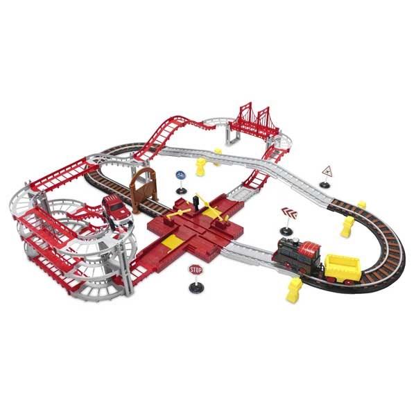 Wincars Магистраль Железная дорога и автотрэк с 1 паровозом, 1 машинкой и переездом - фото 8692
