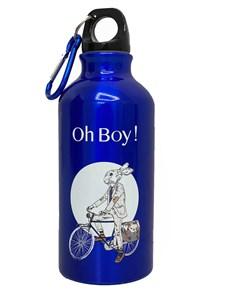 Ohboy_kids Бутылка серая многоразовая с карабином 400 мл