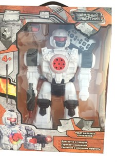 1toy Звездный защитник робот на д/у, стреляет липучками, движ. во всех направ., свет, звук.эфф. 2 цвета в ассорт, 26см